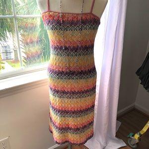 Jonathan Martin Lined Chevron Pastel Colored Dress